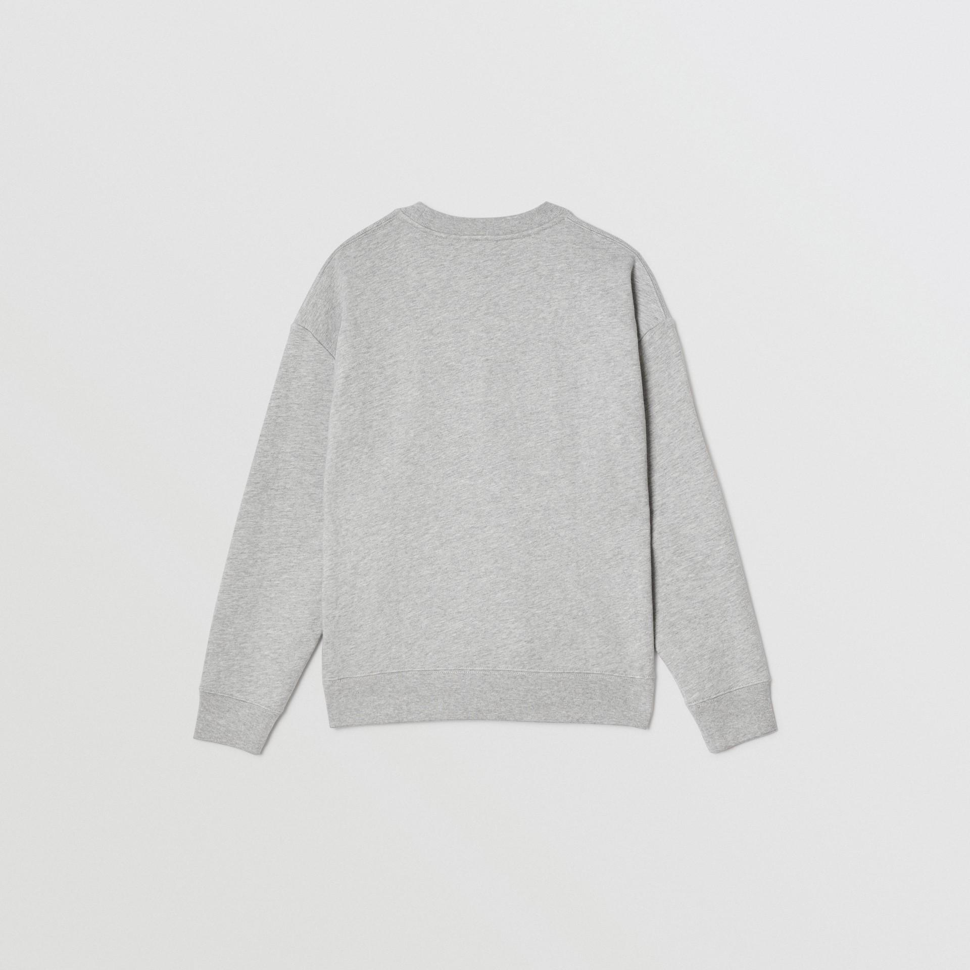 Check Logo Cotton Sweatshirt in Grey Melange | Burberry - gallery image 4