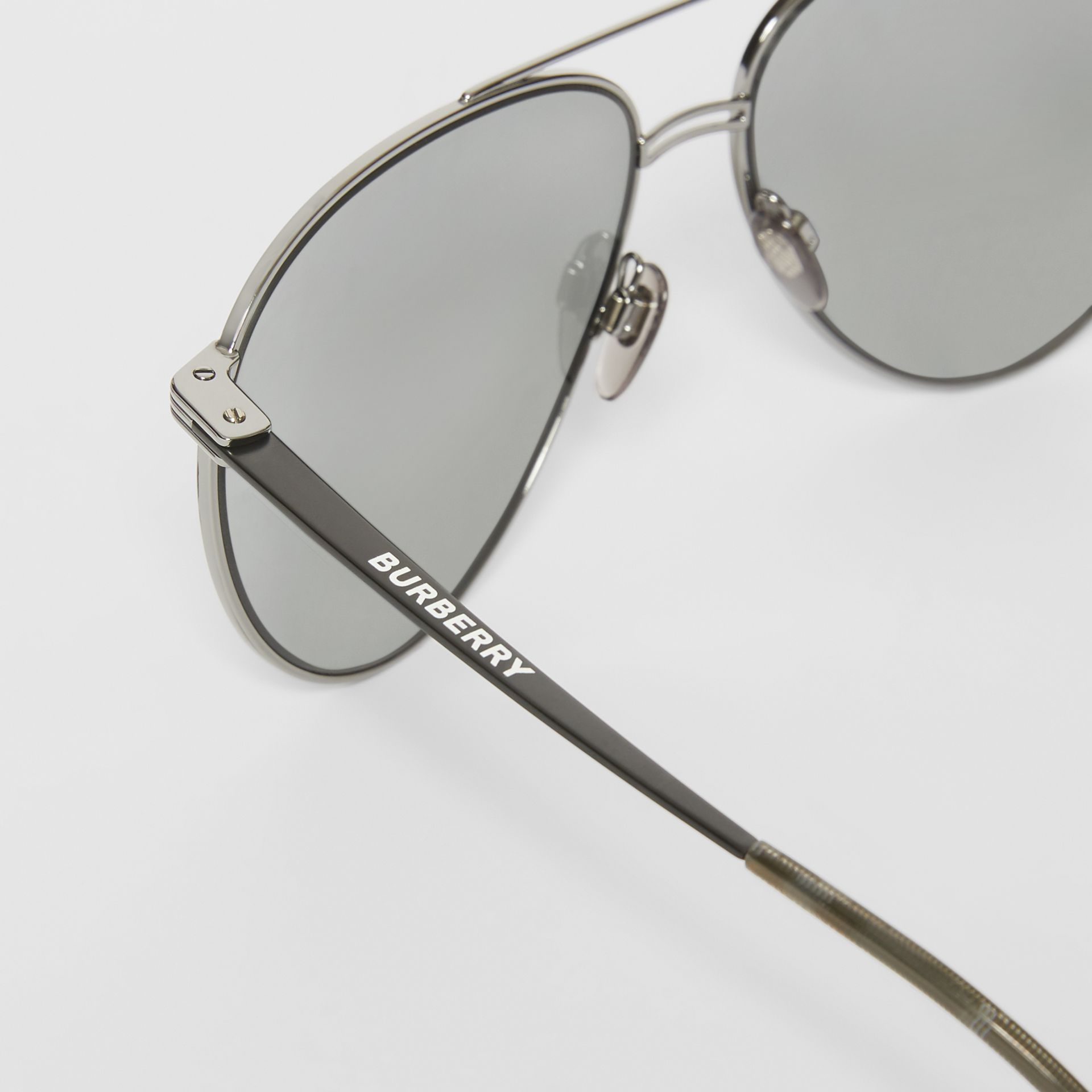 Top Bar Detail Pilot Sunglasses in Gunmetal/black - Men | Burberry - gallery image 1