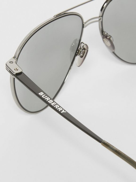 Top Bar Detail Pilot Sunglasses in Gunmetal/black - Men | Burberry United Kingdom - cell image 1