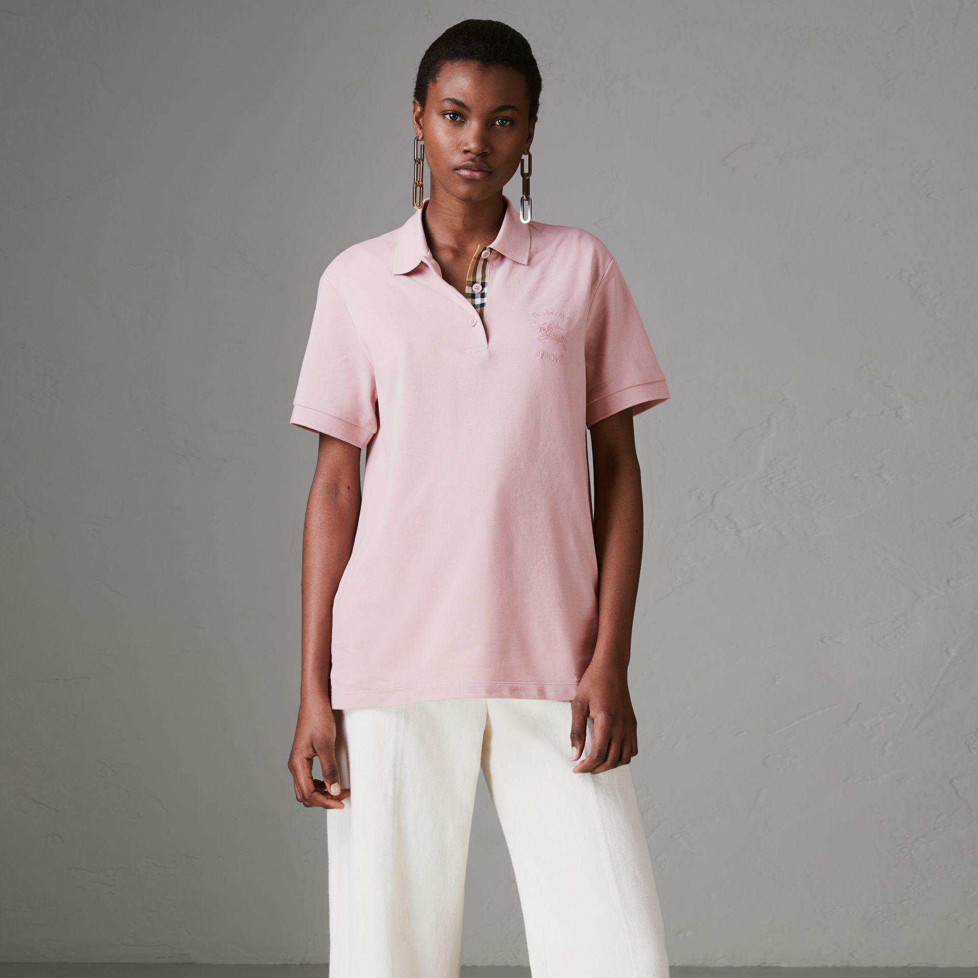 Check Placket Cotton Piqué Polo Shirt in Chalk Pink - Women | Burberry - gallery image 0
