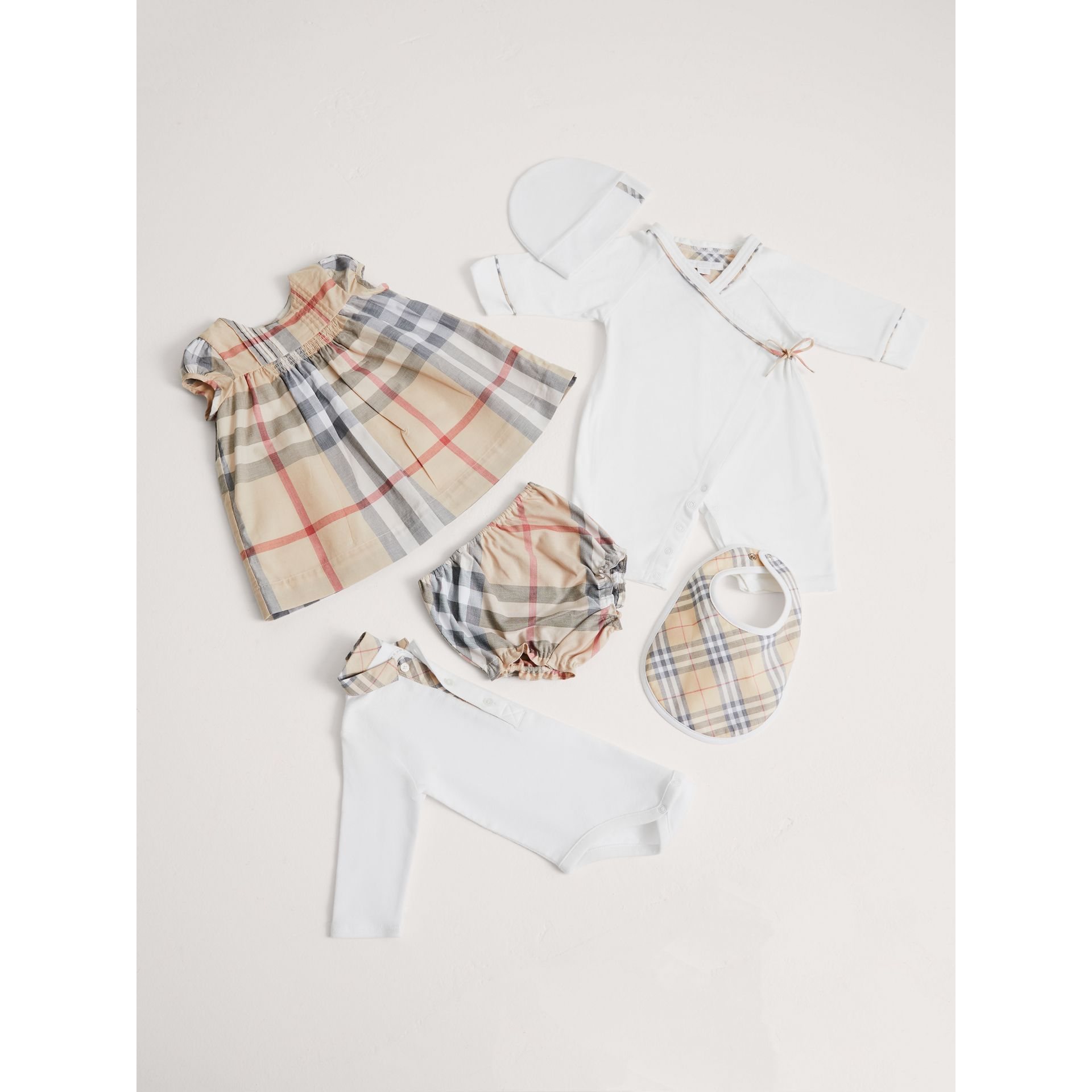 Cotton Six-piece Baby Gift Set in White | Burberry - gallery image 0