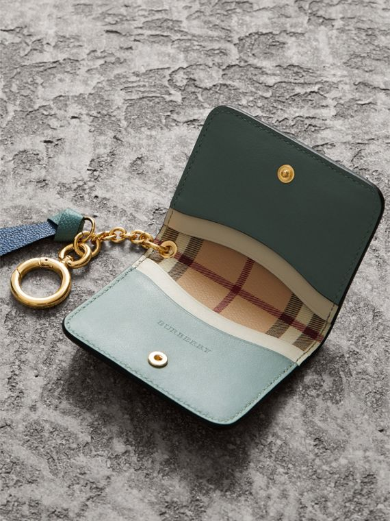 Leather and Haymarket Check ID Card Case Charm in Steel Blue/multi - Women | Burberry - cell image 3