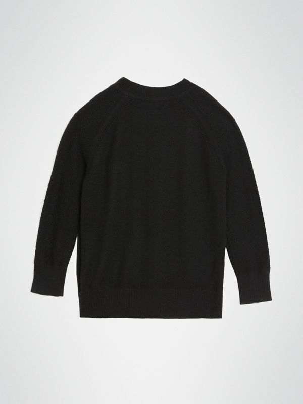 Crew Neck Cashmere Sweater in Black | Burberry - cell image 3