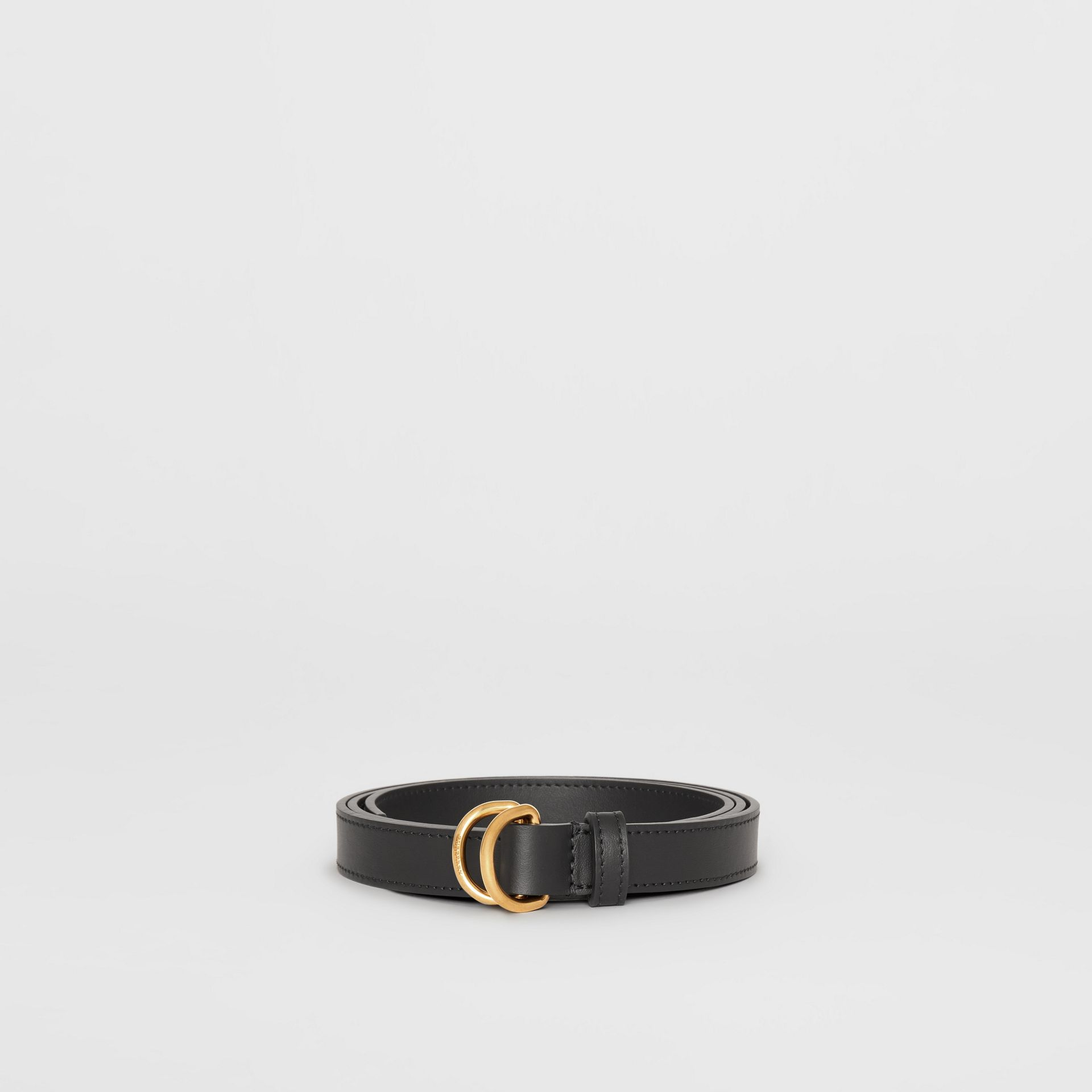 Slim Leather Double D-ring Belt in Black - Women | Burberry - gallery image 3