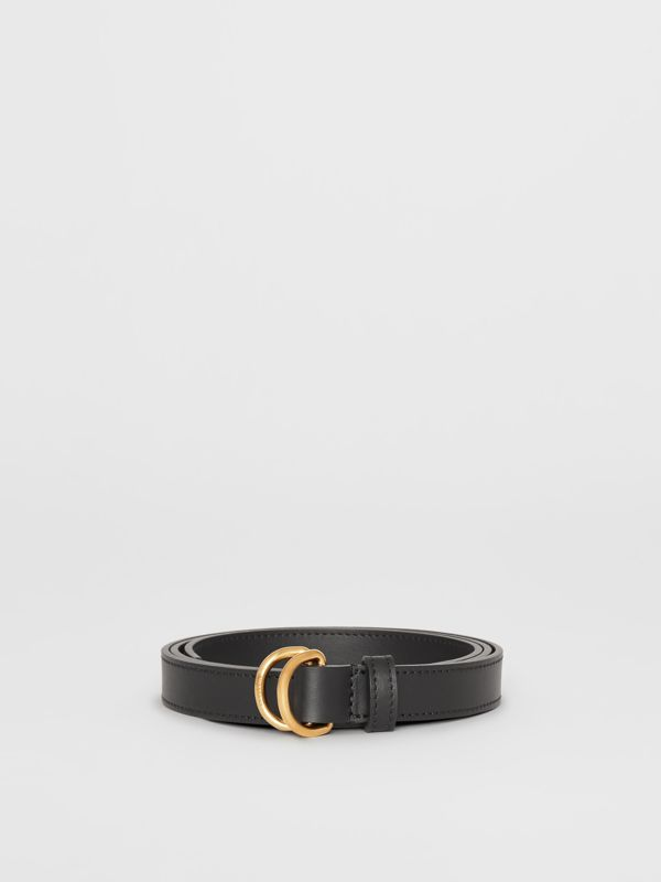 Slim Leather Double D-ring Belt in Black - Women | Burberry - cell image 3