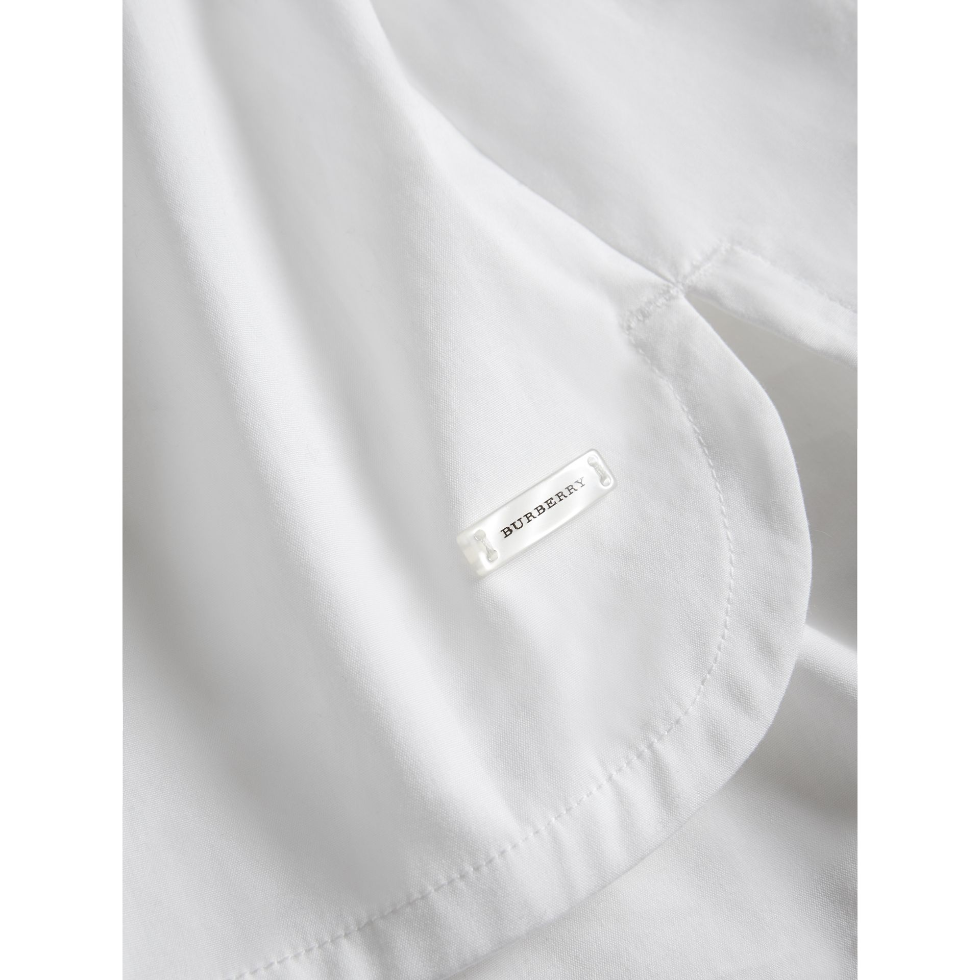 Sleeve Tie Detail Stretch Cotton Shirt in White - Girl | Burberry - gallery image 1