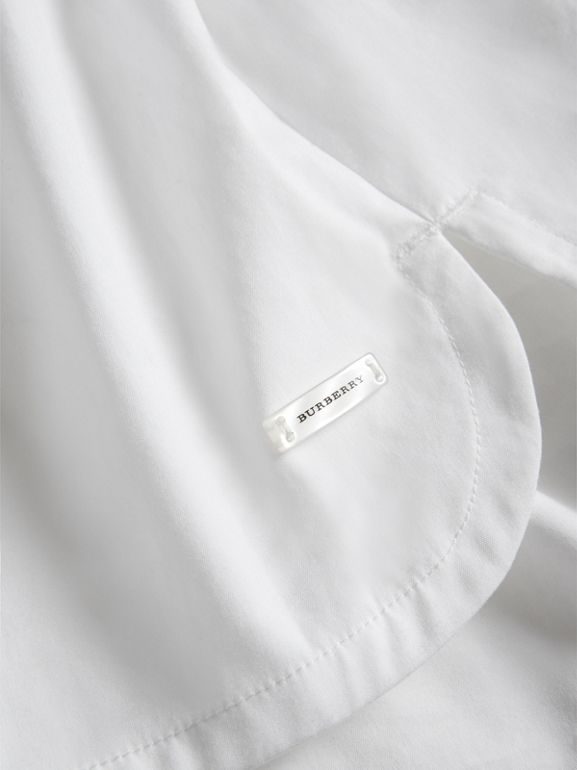 Sleeve Tie Detail Stretch Cotton Shirt in White | Burberry - cell image 1