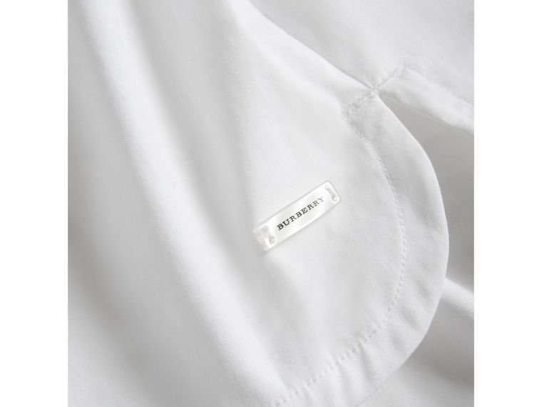 Sleeve Tie Detail Stretch Cotton Shirt in White - Girl | Burberry - cell image 1