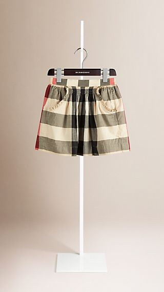 Pocket Detail Check Cotton Skirt