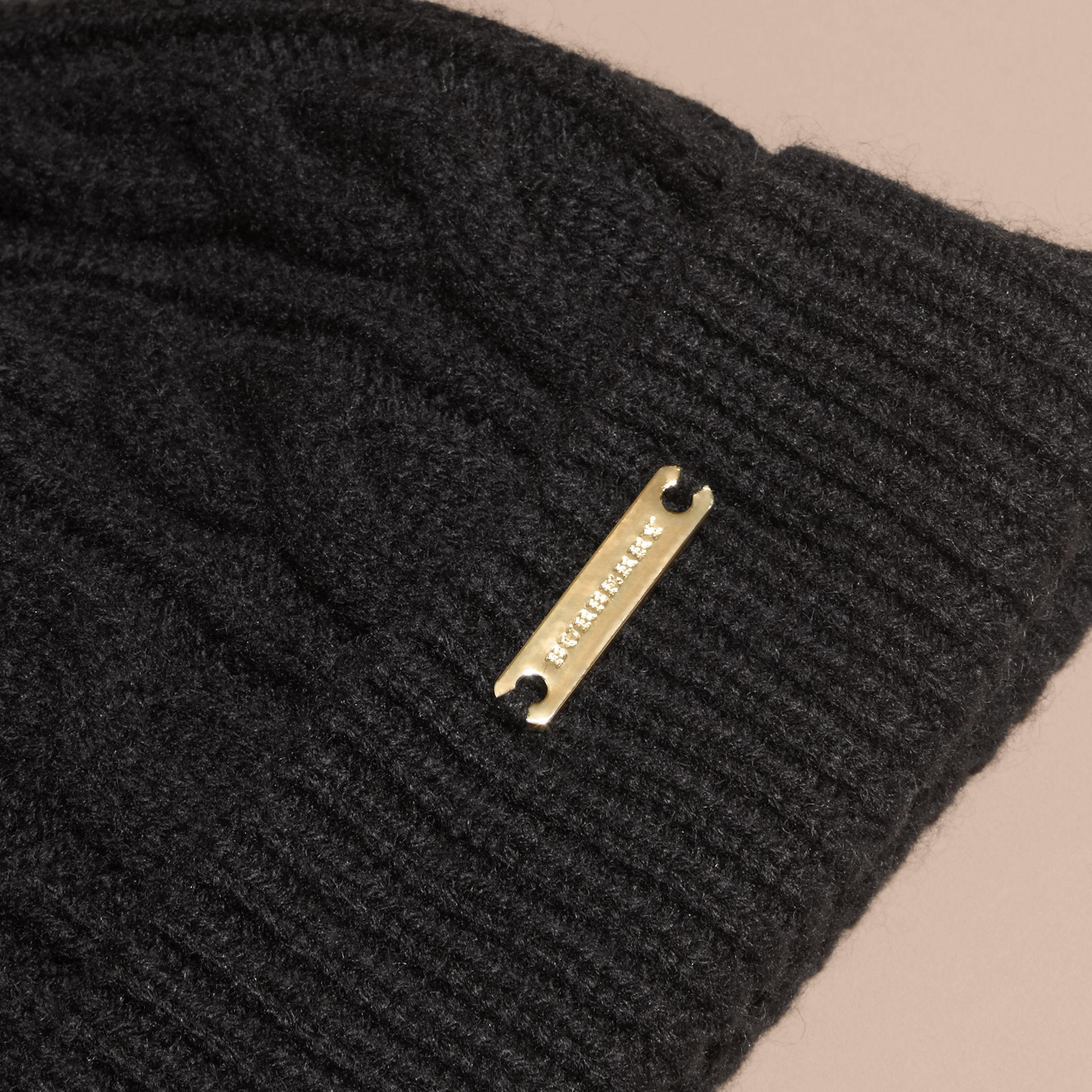Black Wool Cashmere Beanie with Fur Pom-Pom Black - gallery image 2