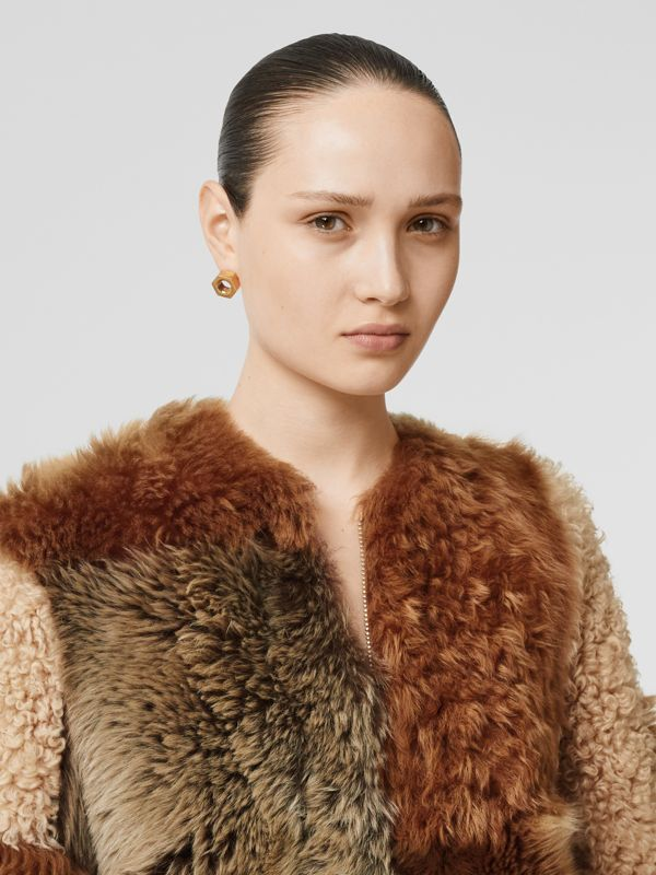 Patchwork Shearling Coat in Toffee - Women | Burberry - cell image 2