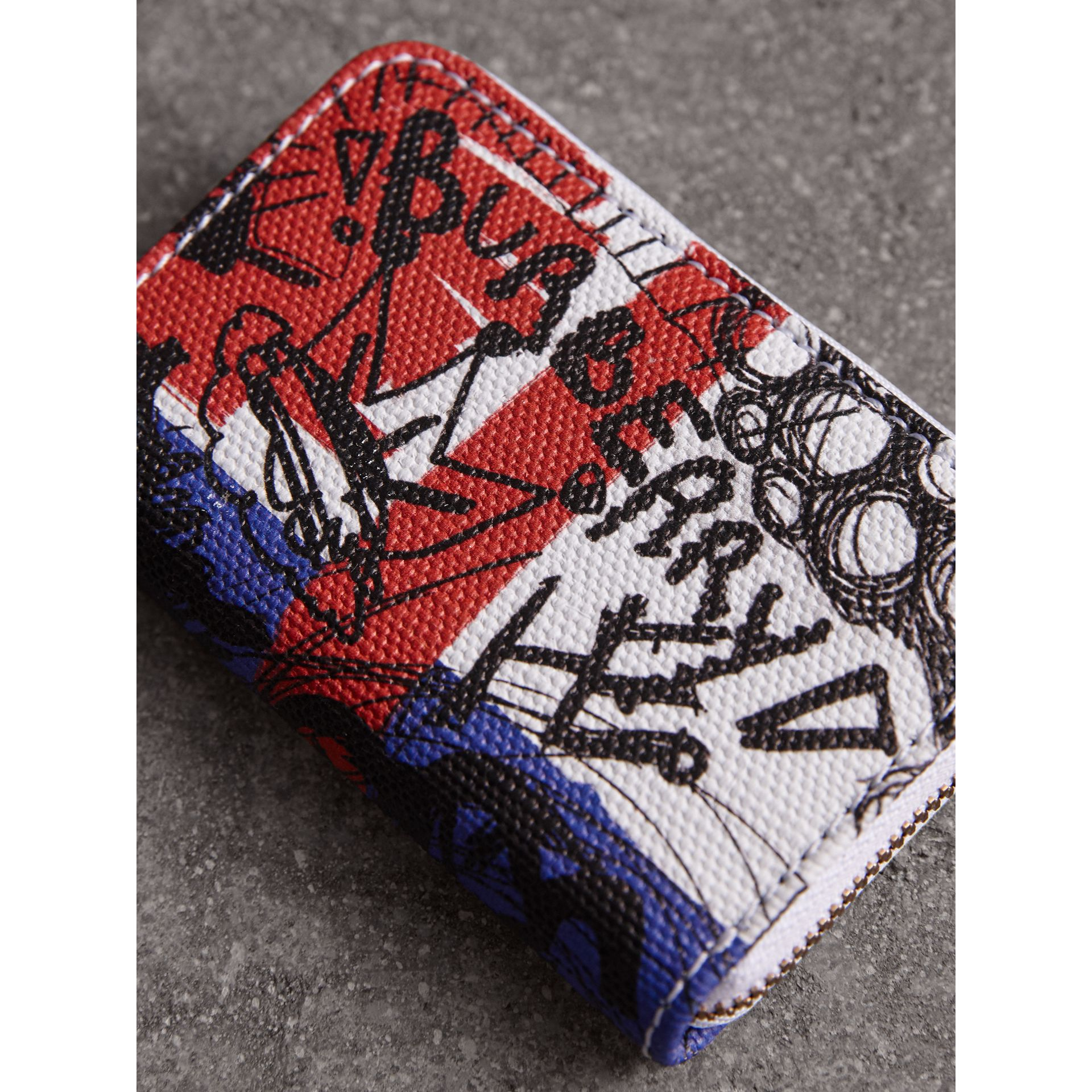 Doodle Print Coated Canvas Ziparound Coin Case in Red/blue | Burberry - gallery image 2