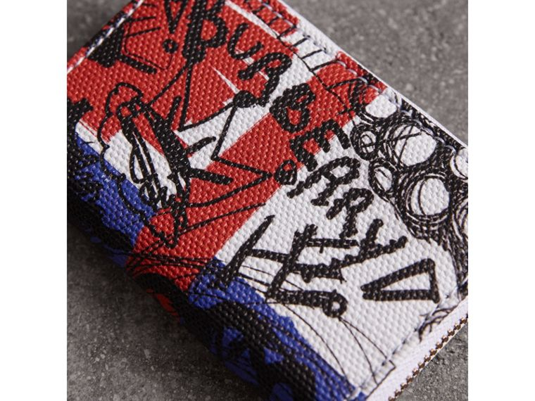 Doodle Print Coated Canvas Ziparound Coin Case in Red/blue | Burberry - cell image 1
