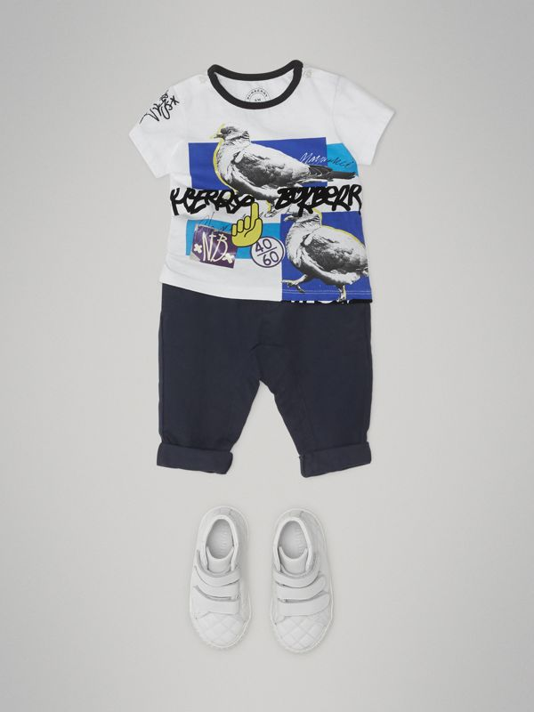 Pigeon Graphic Cotton T-shirt in White - Children | Burberry - cell image 2