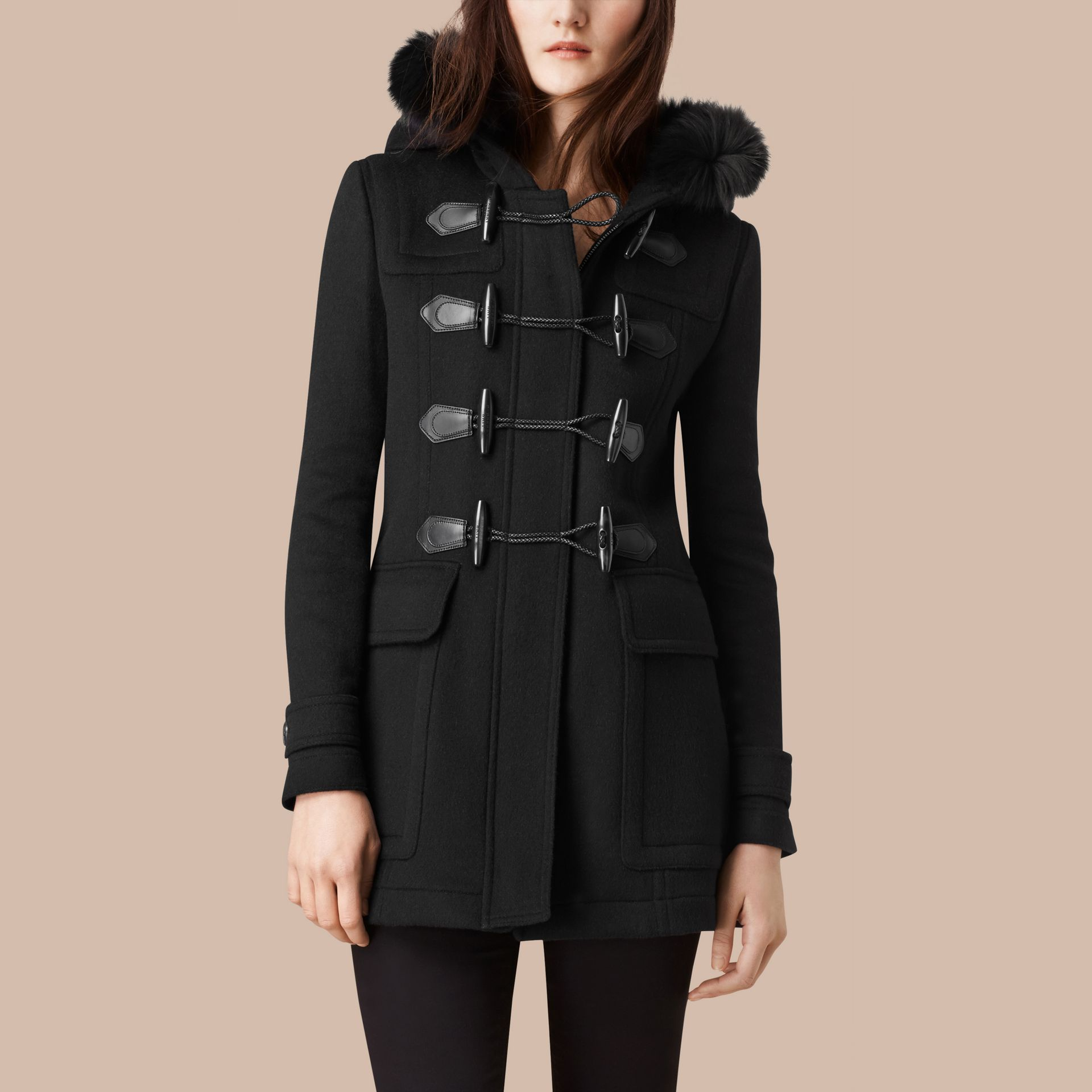 Black Detachable Fur Trim Wool Duffle Coat Black - gallery image 4
