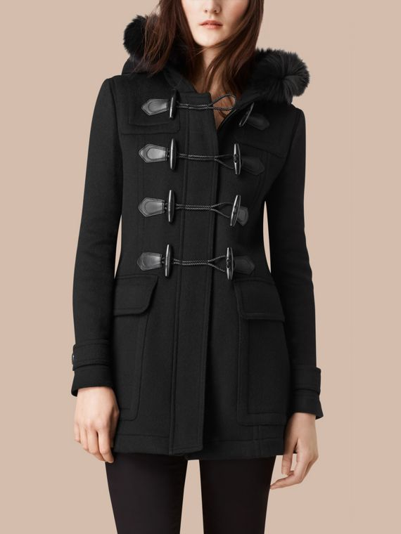 Detachable Fur Trim Wool Duffle Coat Black - cell image 3
