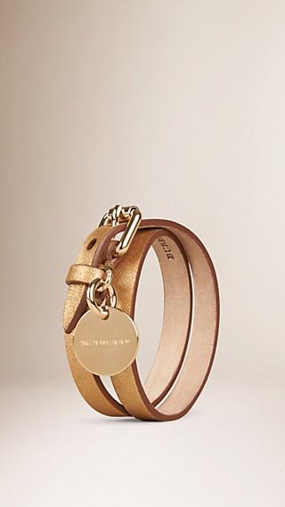 Bracelet double tour en cuir métallisé