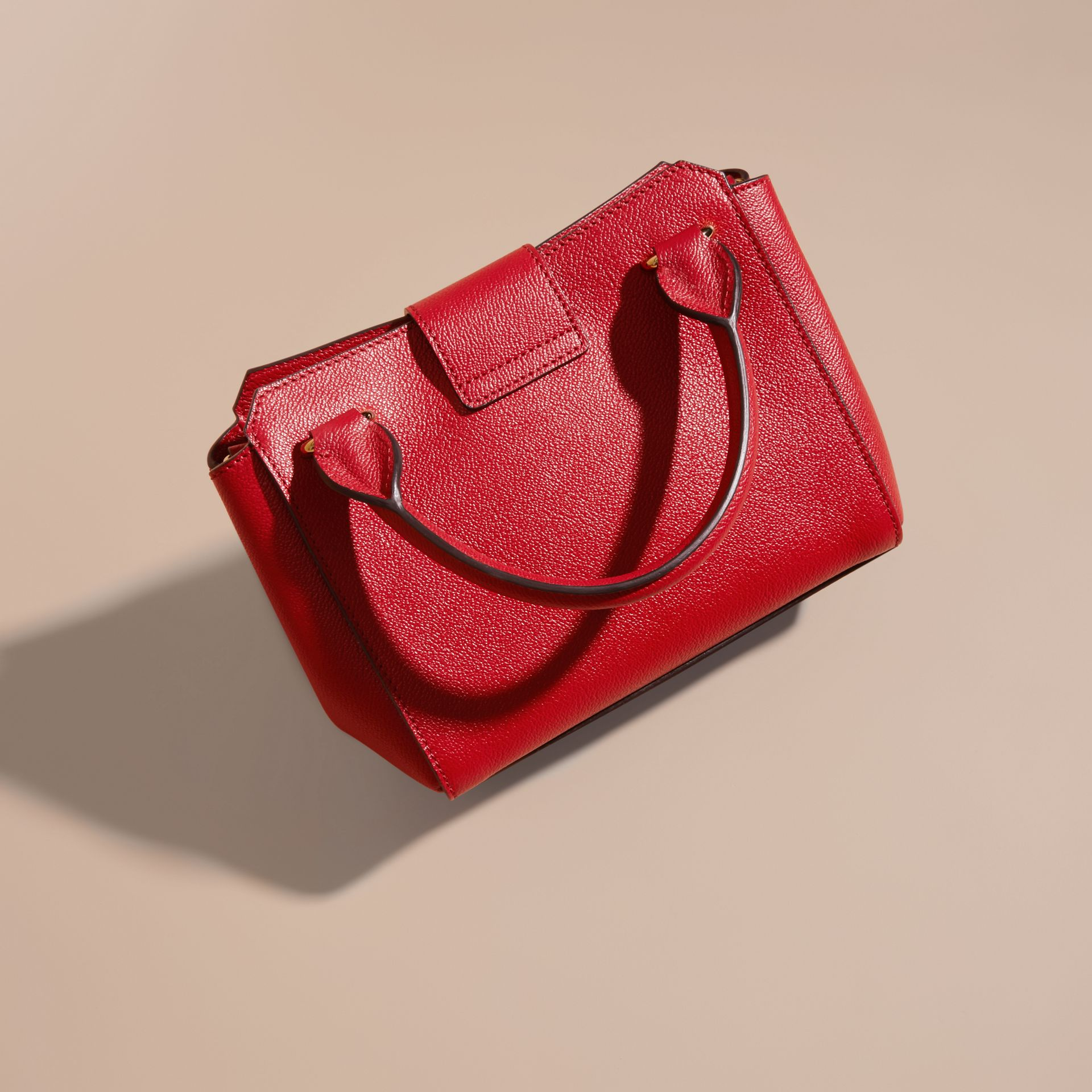 Parade red The Small Buckle Tote in Grainy Leather Parade Red - gallery image 4