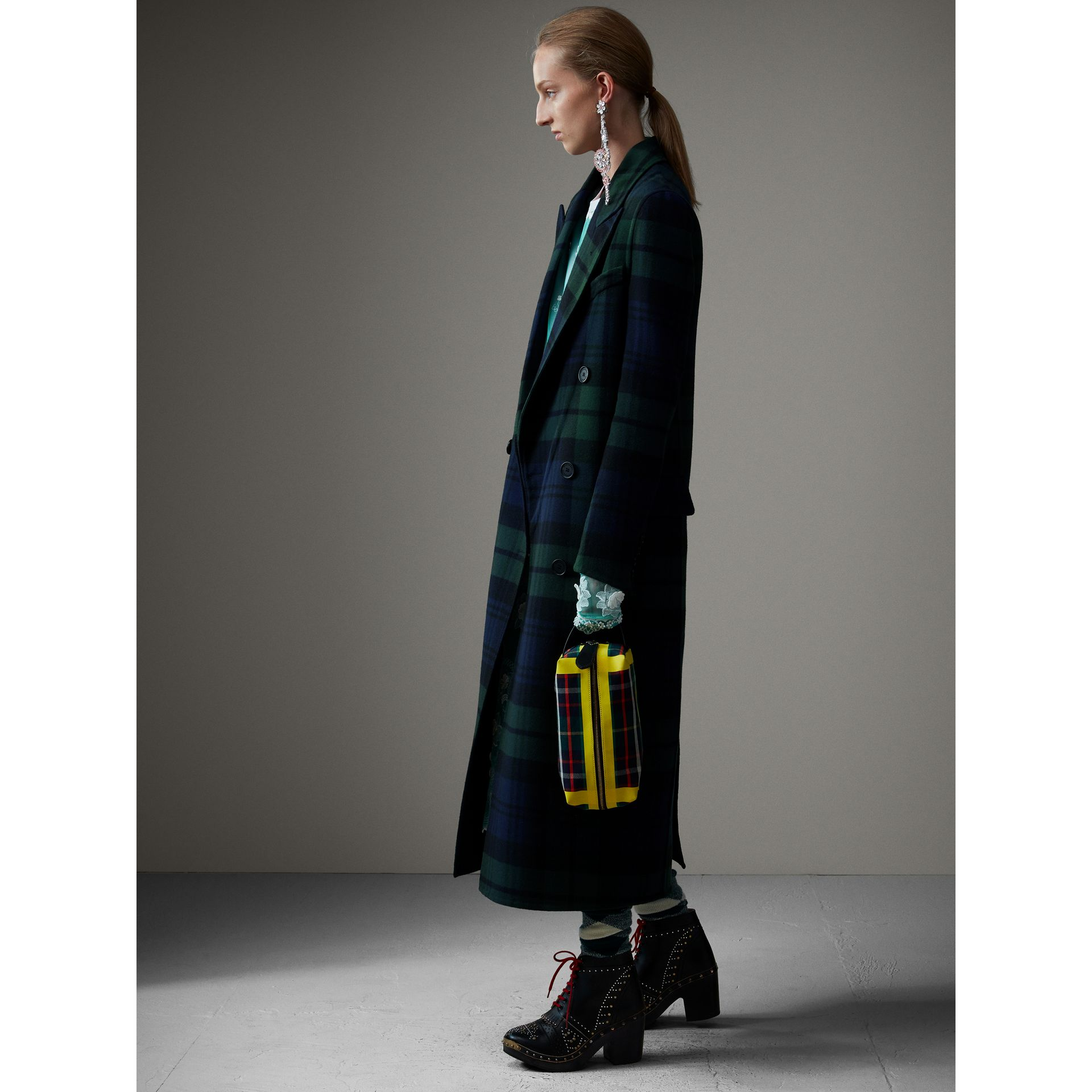 Tartan Double-faced Wool Cashmere Tailored Coat in Midnight Blue/bright Navy - Women | Burberry Hong Kong - gallery image 6