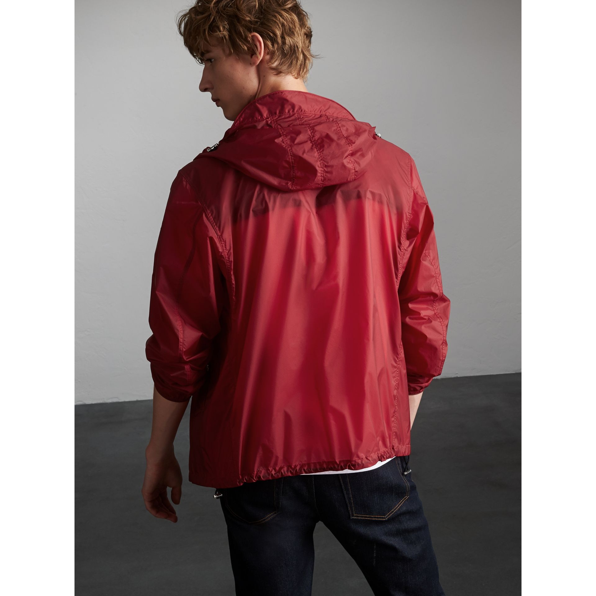 Hooded Super-lightweight Jacket in Crimson Pink - Men | Burberry Australia - gallery image 3