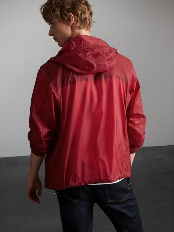 Hooded Super-lightweight Jacket in Crimson Pink - Men | Burberry Australia - cell image 2