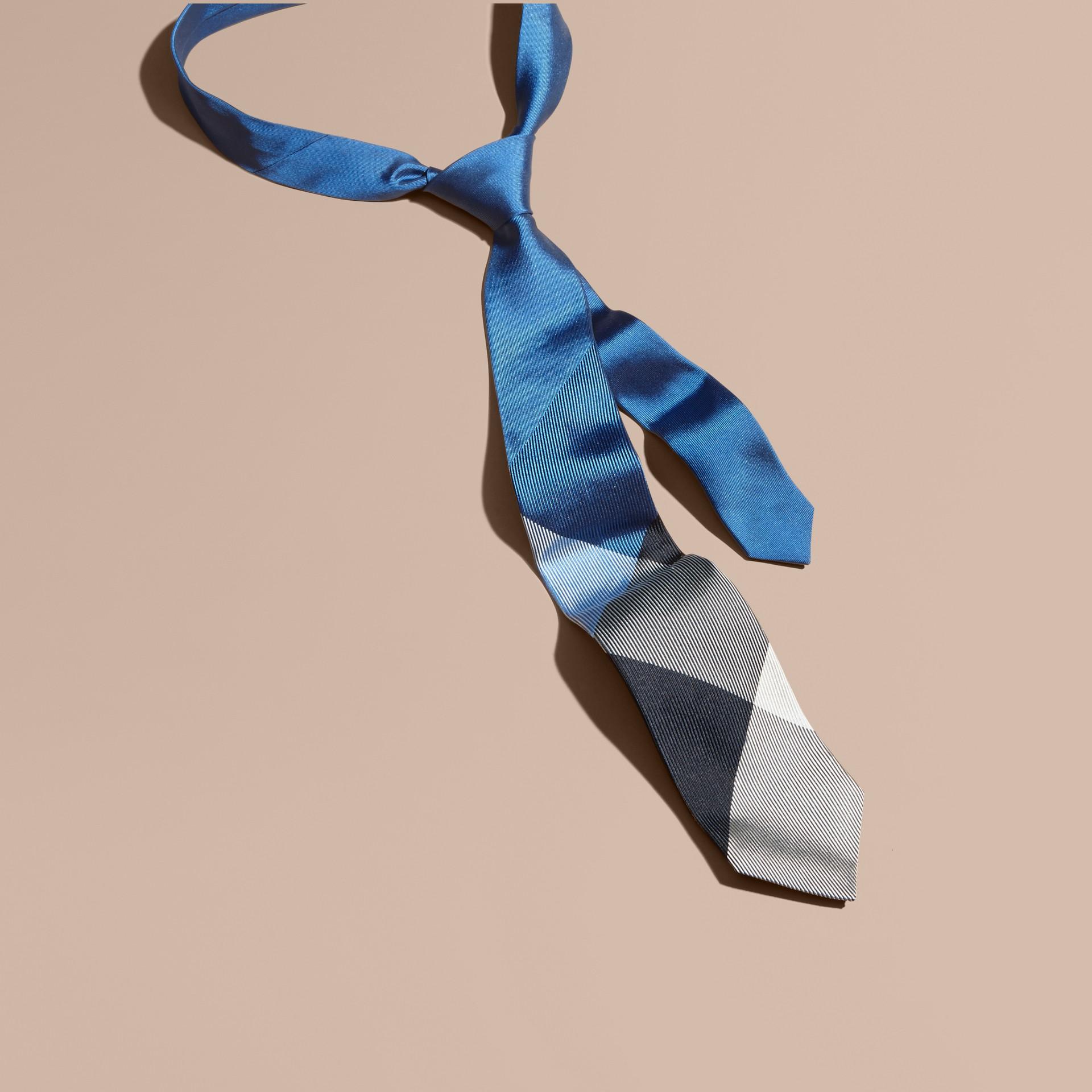 Hydrangea blue Modern Cut Check Jacquard Silk Tie Hydrangea Blue - gallery image 1