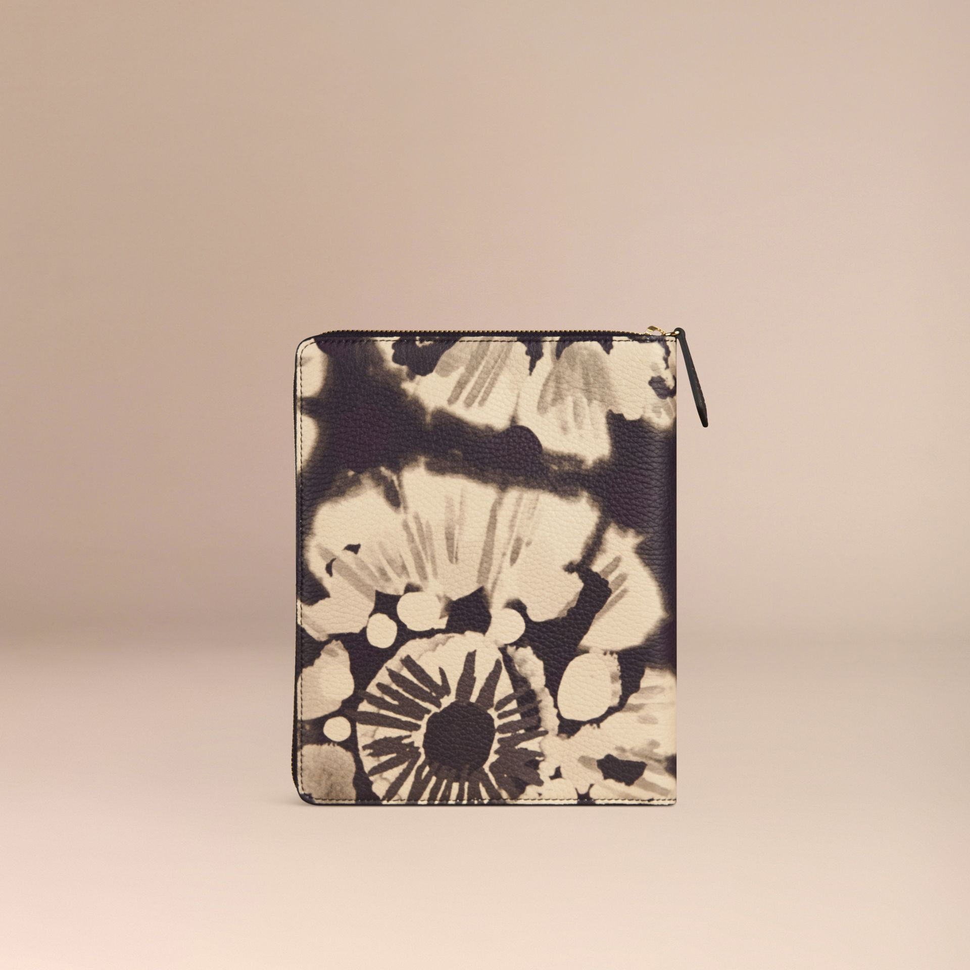 Stone Ziparound Tie-dye Print Grainy Leather A5 Notebook Stone - gallery image 4