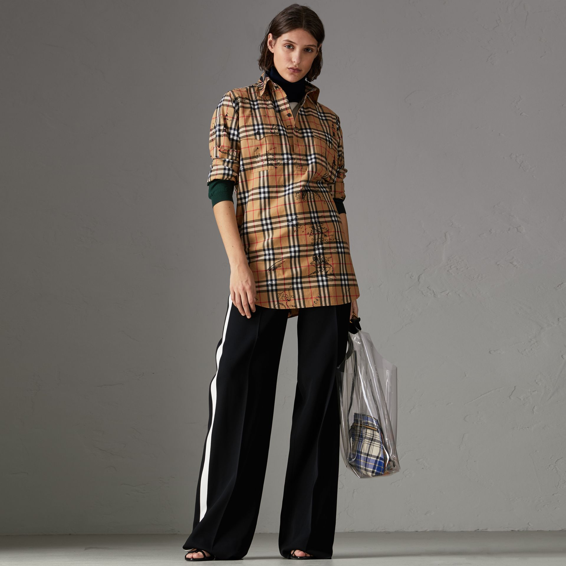 Postcard Print Vintage Check Tunic Shirt in Antique Yellow - Women | Burberry - gallery image 0