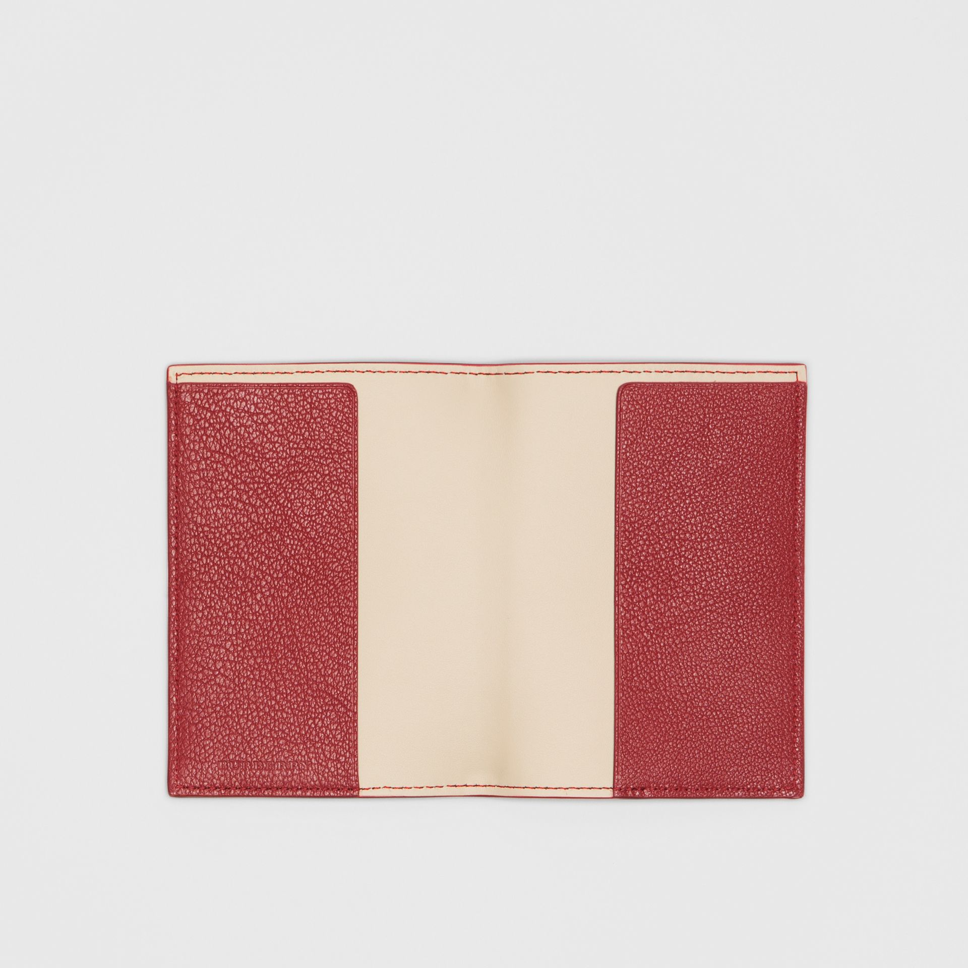 Leather Passport Holder in Crimson | Burberry Australia - gallery image 2