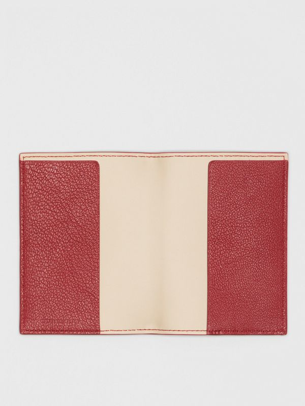 Leather Passport Holder in Crimson | Burberry - cell image 2