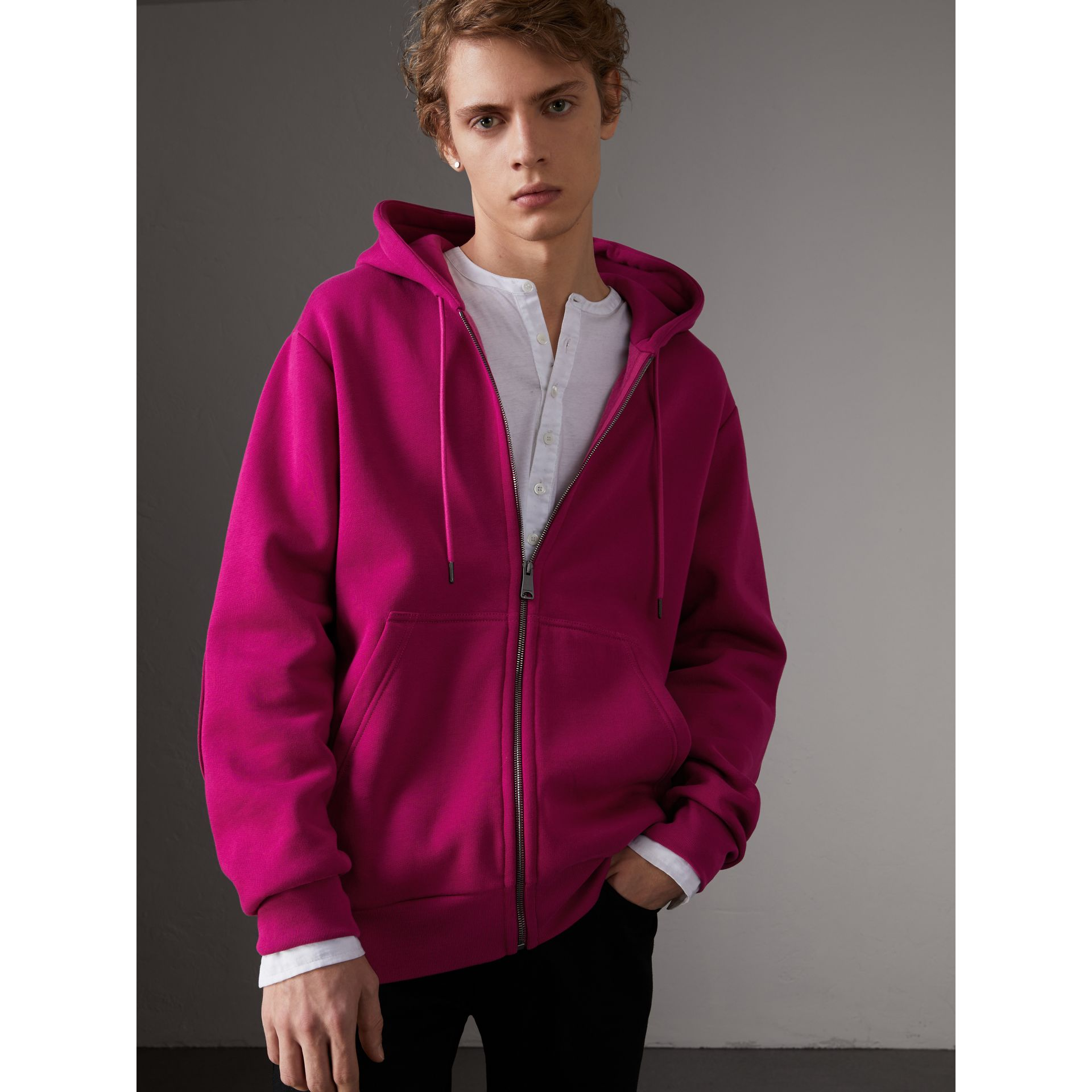 Cotton Jersey Zip-front Hooded Top in Bright Fuchsia - Men | Burberry - gallery image 0