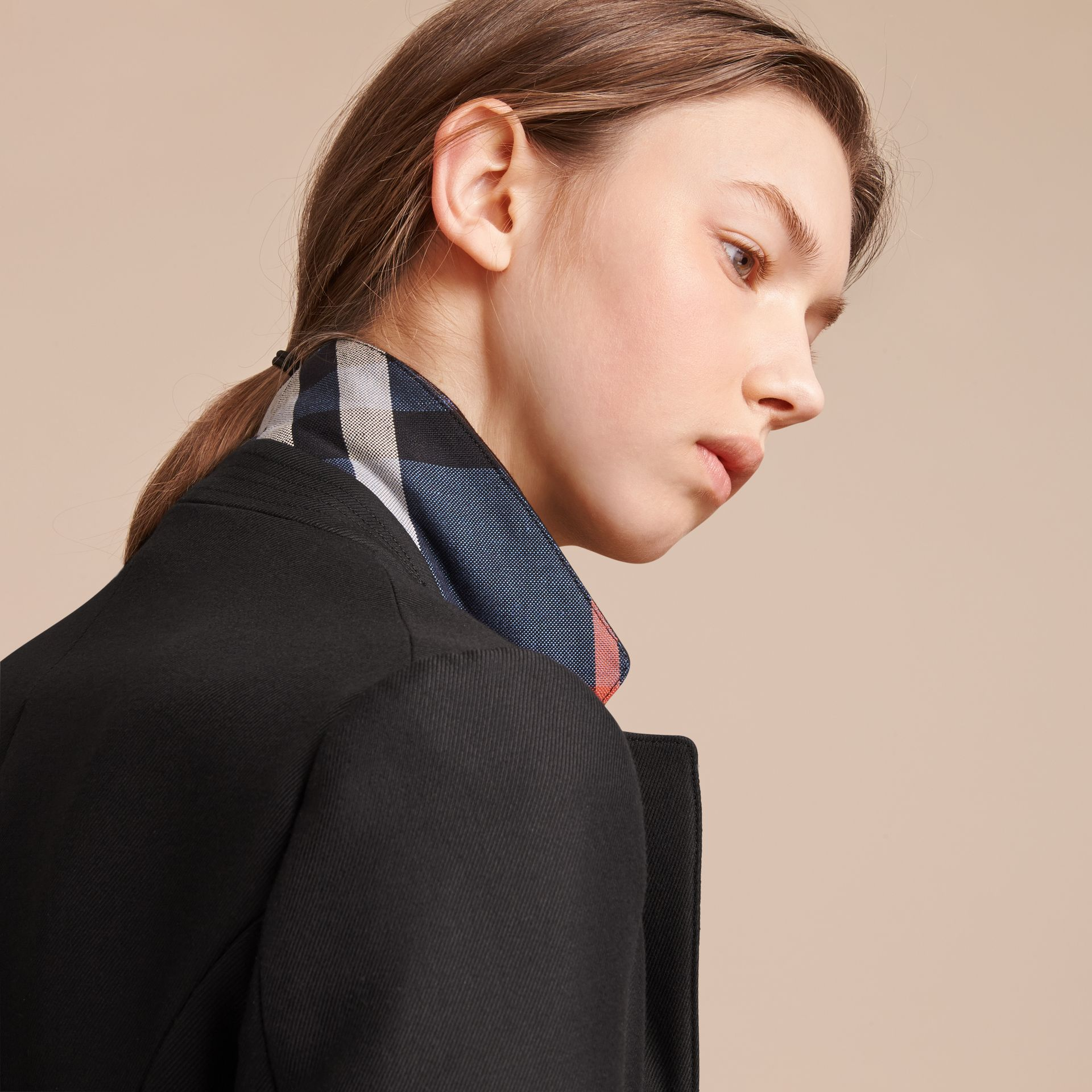 Wool Cotton Blend Twill Tailored Jacket in Black - Women | Burberry Singapore - gallery image 5