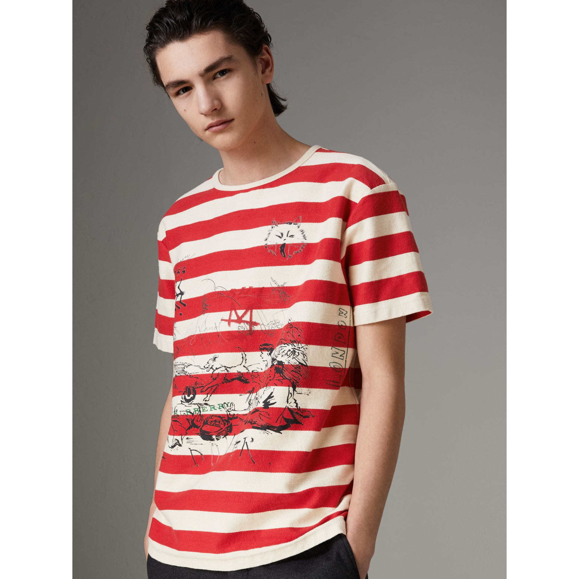Adventure Print Striped Cotton T-shirt in Off White/parade Red - Men | Burberry - gallery image 0