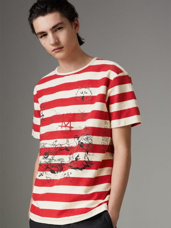 Adventure Print Striped Cotton T-shirt in Off White/parade Red