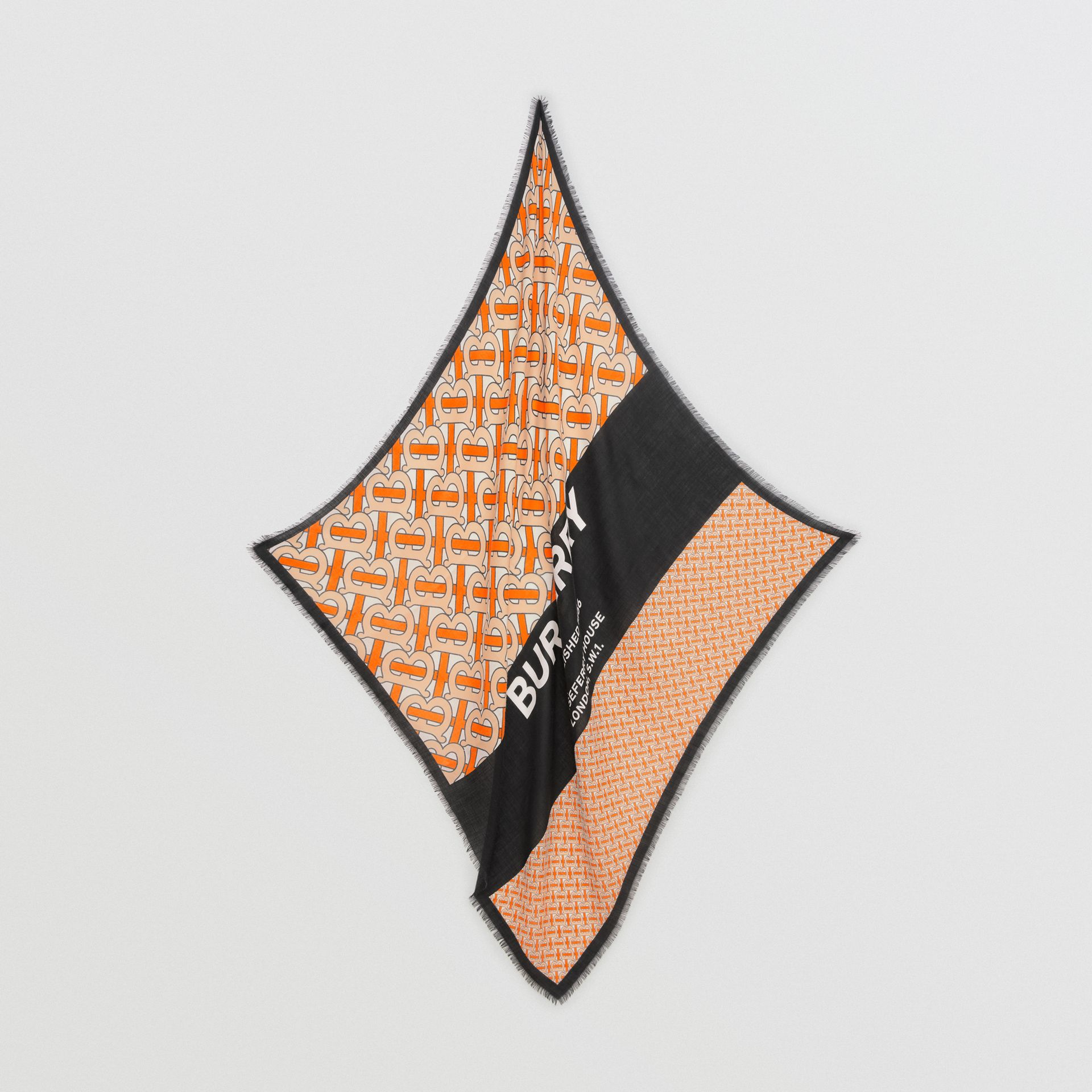 Monogram Print Cashmere Large Square Scarf in Bright Orange | Burberry - gallery image 3