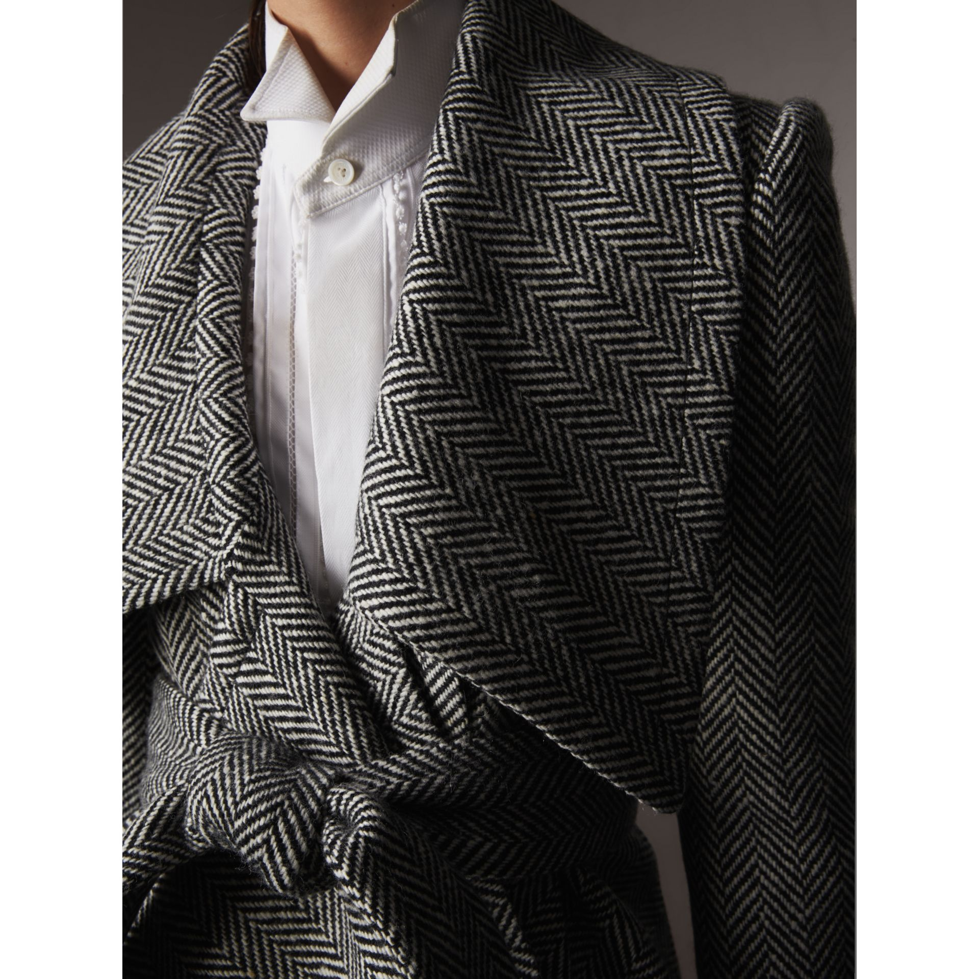 Herringbone Wool Cashmere Wrap Jacket - Women | Burberry - gallery image 2