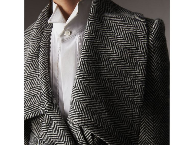 Herringbone Wool Cashmere Wrap Jacket in Black - Women | Burberry Hong Kong - cell image 1