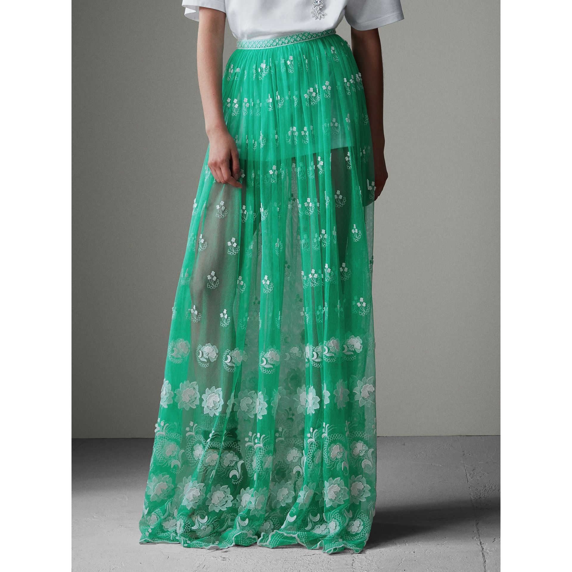 Floor-length Embroidered Tulle Skirt in Aqua Green/white - Women | Burberry - gallery image 6