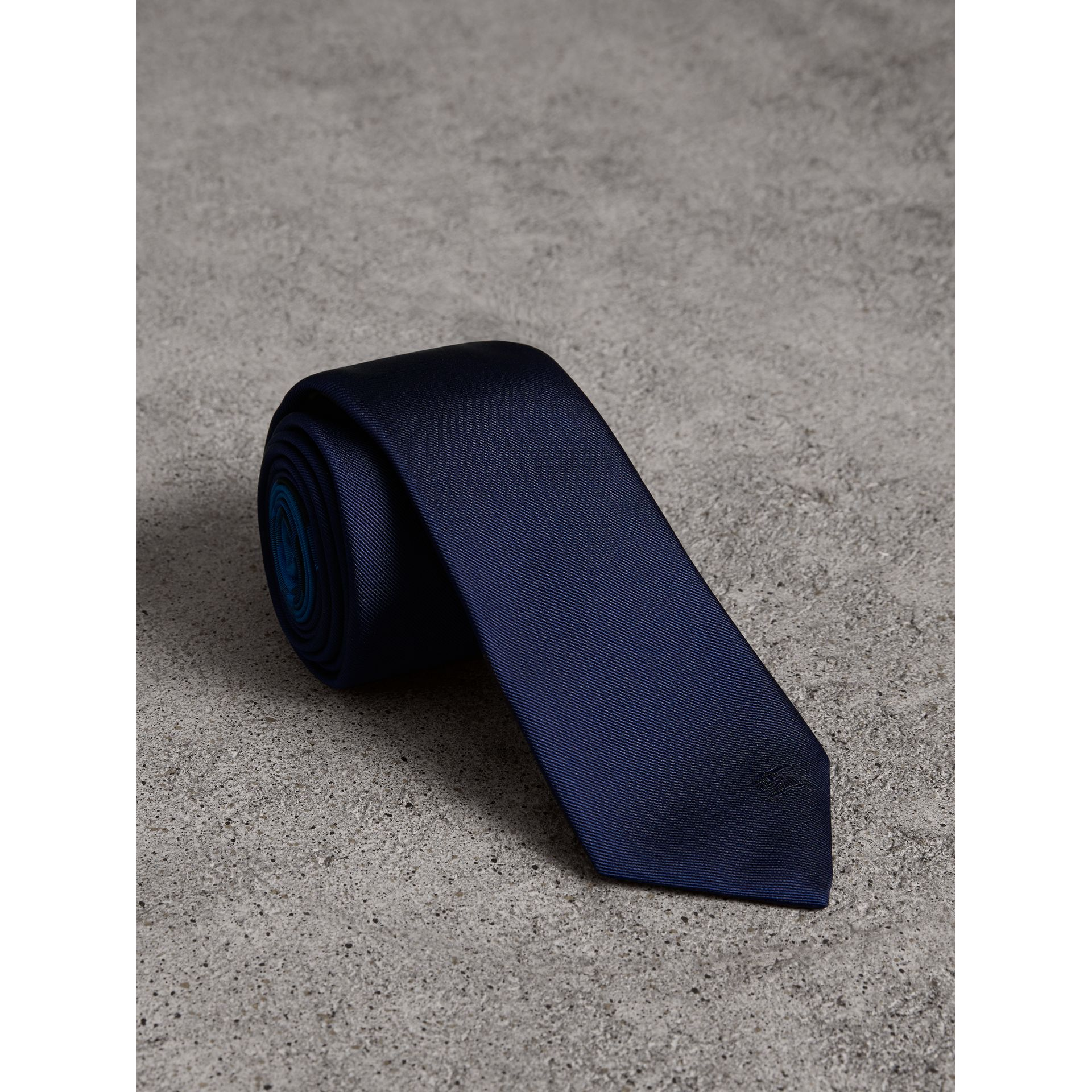 Slim Cut Check Silk Twill Tie in Navy - Men | Burberry - gallery image 0