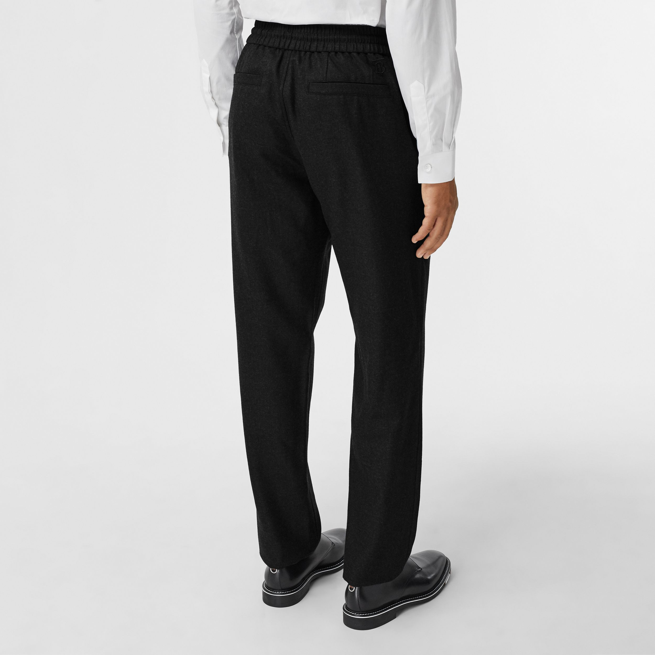 Monogram Motif Wool Jogging Pants in Black - Men | Burberry Hong Kong S.A.R. - 3
