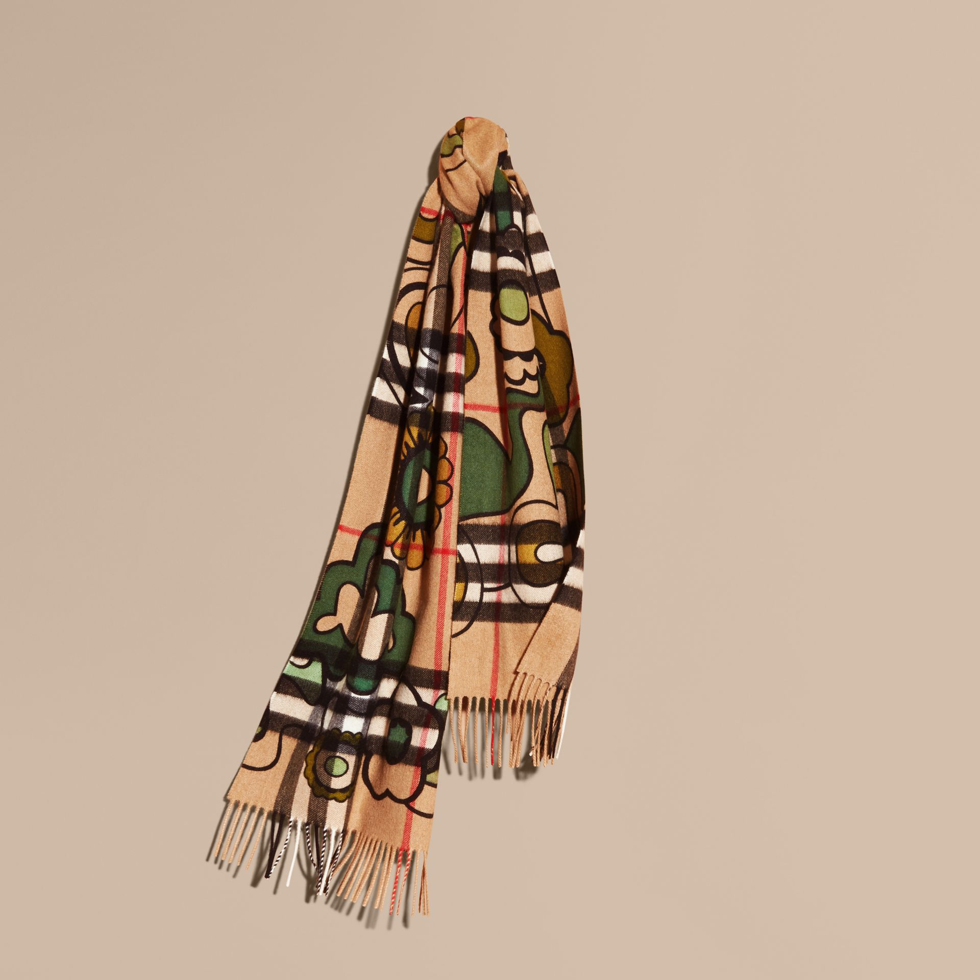 Floral Pop Print and Check Cashmere Scarf Camel/yellow Olive - gallery image 6