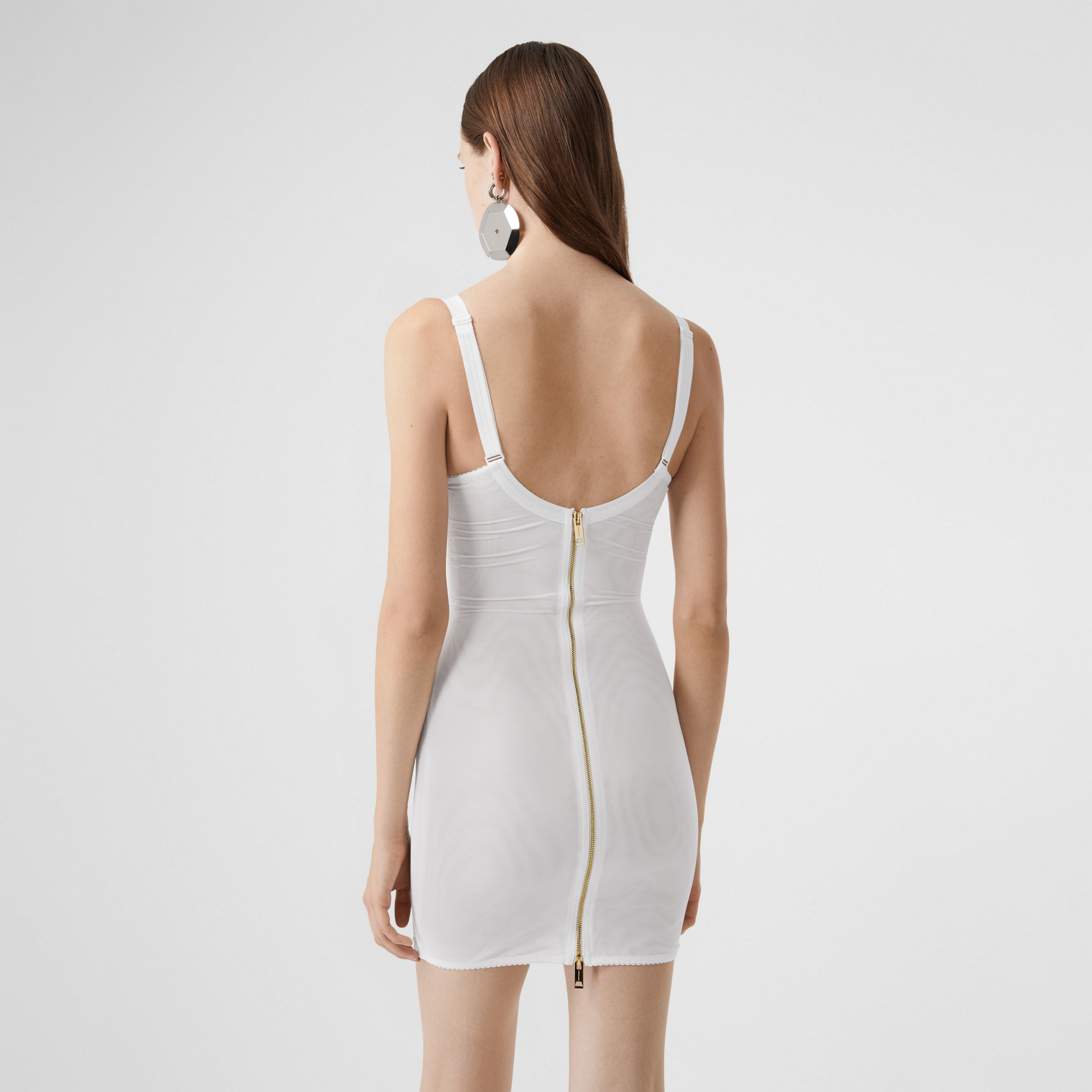 Lace Detail Silk Satin and Mesh Corset Dress in Optic White - Women | Burberry - 2