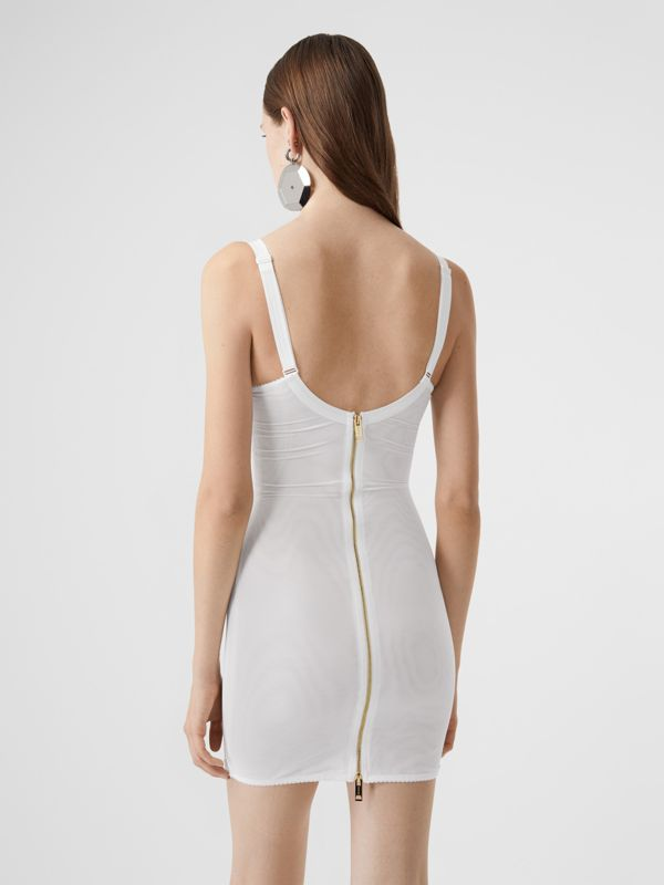 Lace Detail Silk Satin and Mesh Corset Dress in Optic White - Women | Burberry United Kingdom - cell image 2