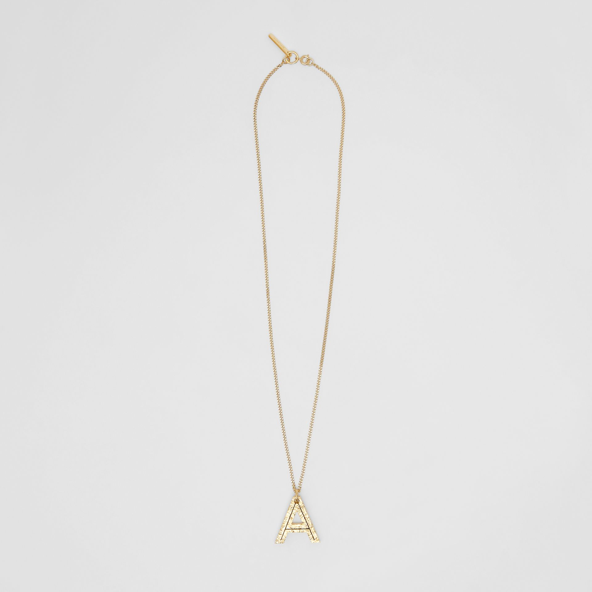 'A' Alphabet Charm Gold-plated Necklace in Light - Women | Burberry - gallery image 0