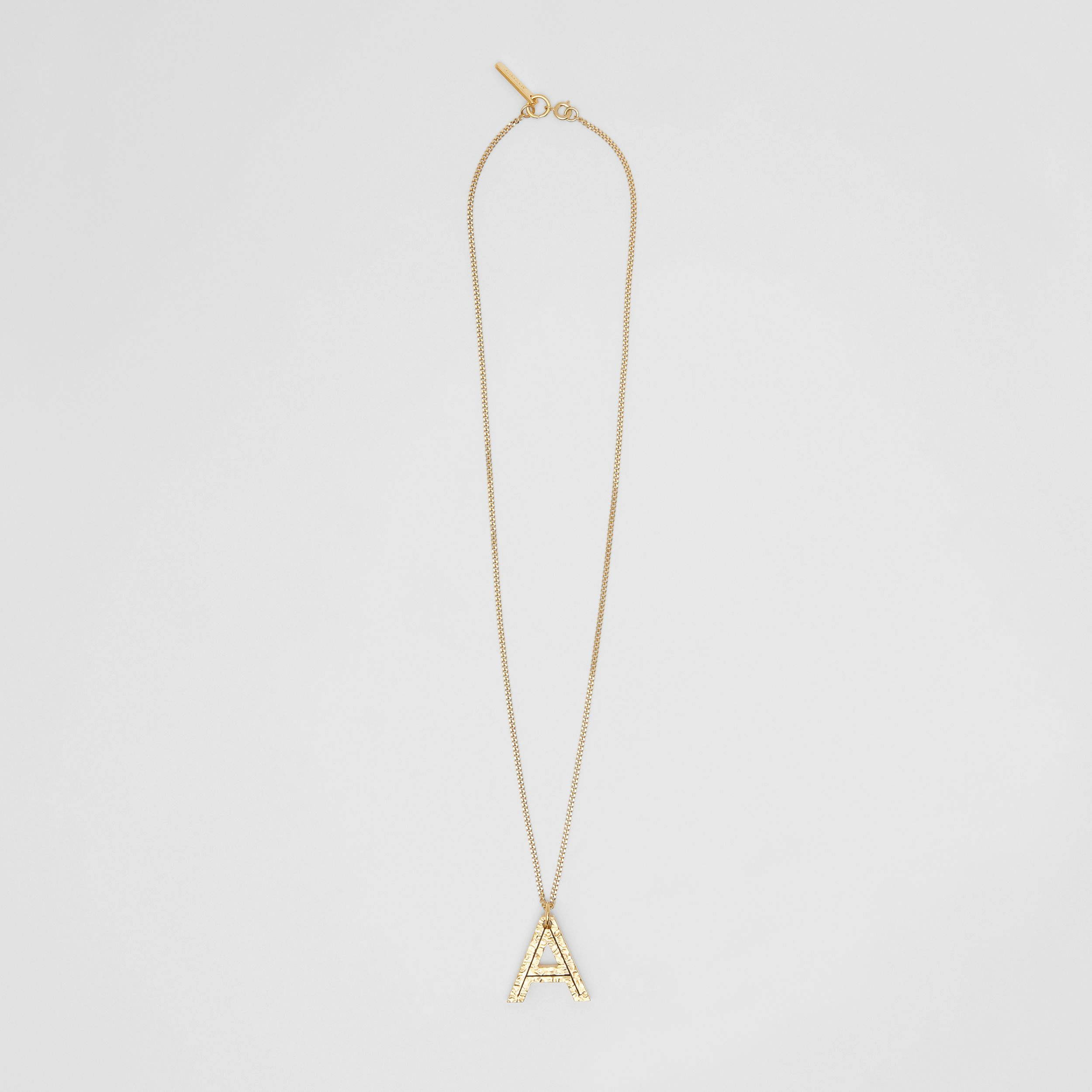 'A' Alphabet Charm Gold-plated Necklace in Light - Women | Burberry United Kingdom - 1