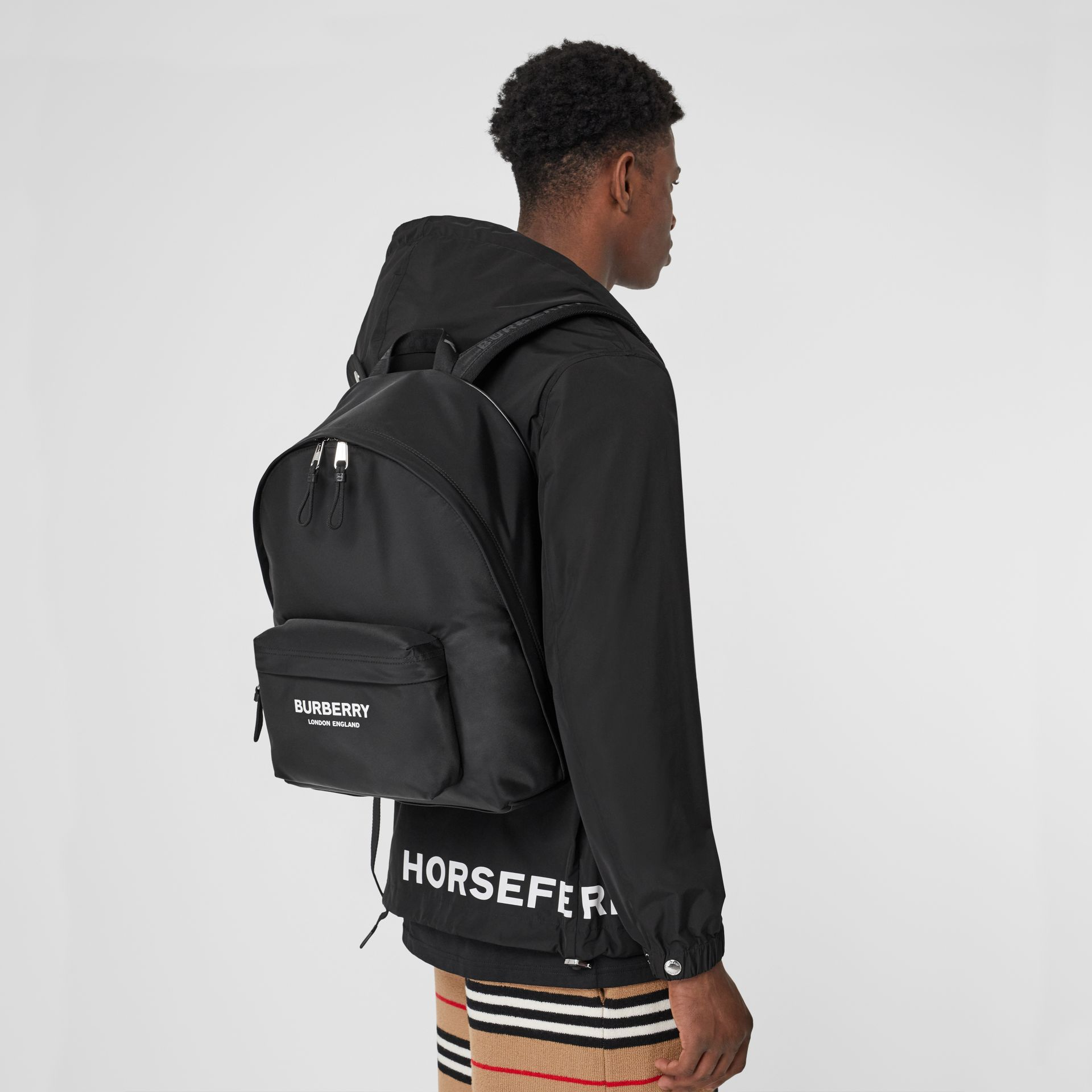 Logo Print Nylon Backpack in Black - Men | Burberry United States - gallery image 2