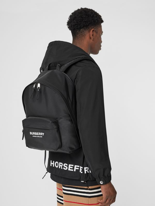 Logo Print Nylon Backpack in Black - Men | Burberry - cell image 2