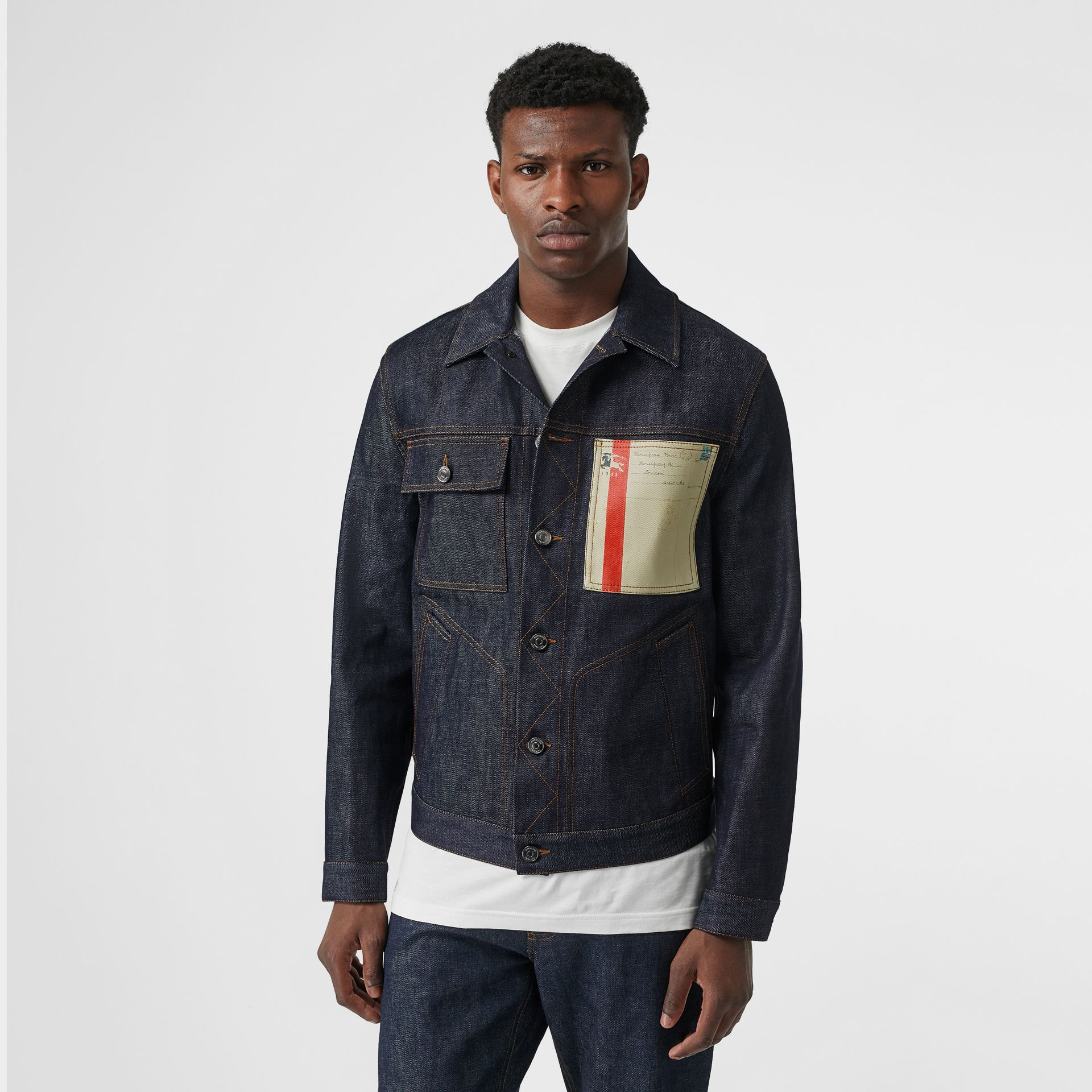 Postcard Motif Japanese Selvedge Denim Jacket in Mid Indigo - Men | Burberry - gallery image 5
