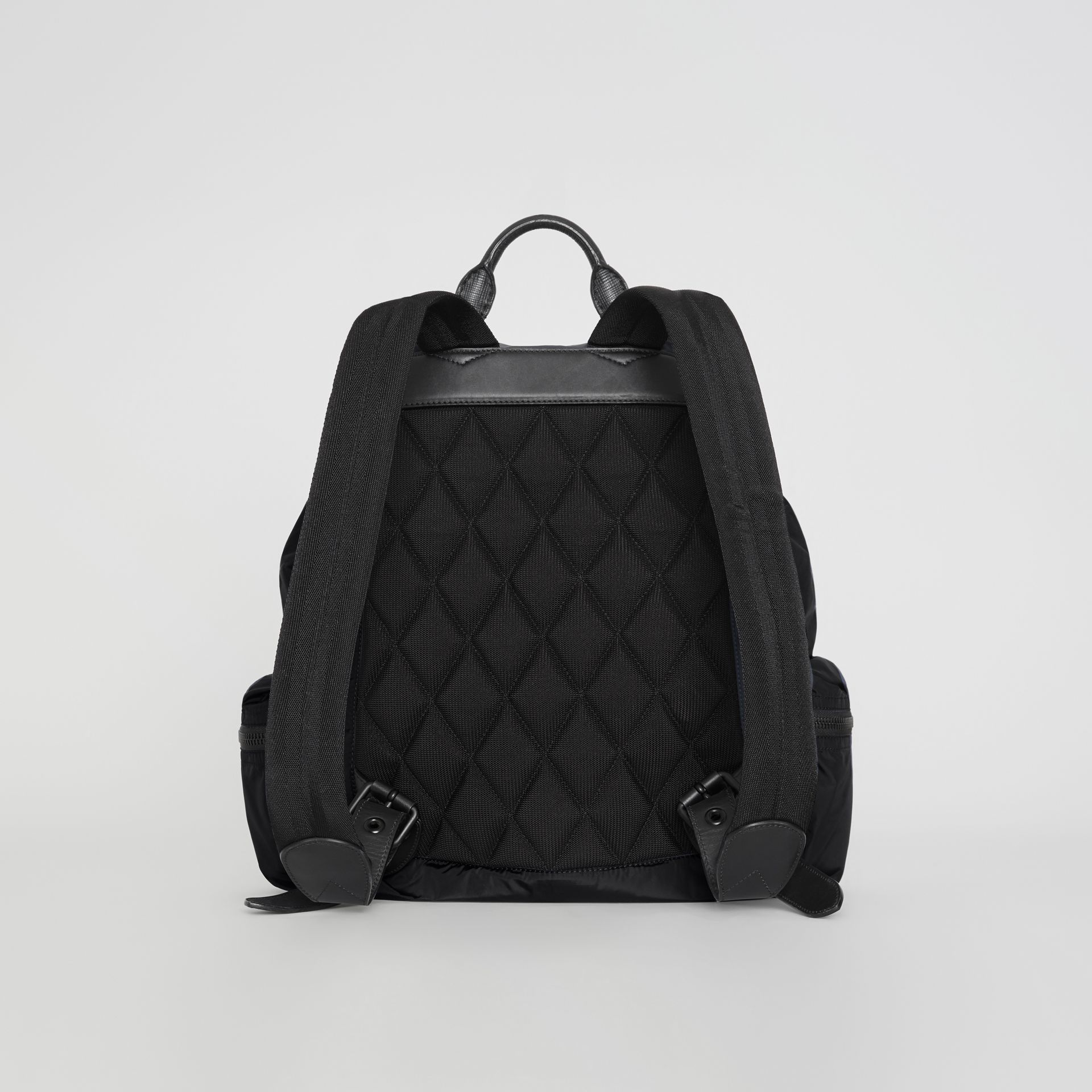 The Large Rucksack in Technical Nylon and Leather in Black - Men | Burberry Singapore - gallery image 7