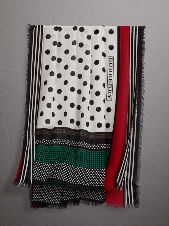 Graphic Spot and Stripe Print Silk Cotton Scarf in Military Red